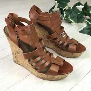 G by Guess Brown Gladiator Platform Wedge Sandals